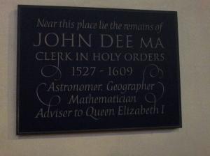 John Dee memorial plaque